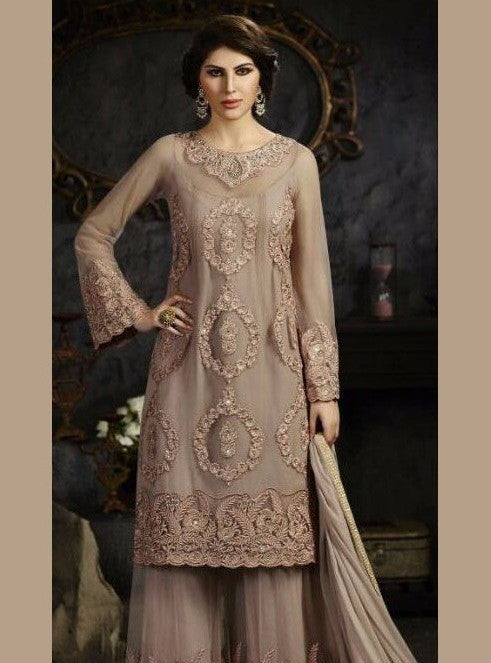 NS11774  Beige Color Georgette/Net Designer Suit