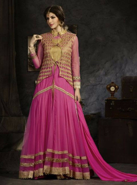 NS11775  Pink Color Georgette/Net Designer Suit