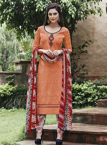 Teazle 1406 Peach Color Designer Kota Doria Cotton Suit Dupatta