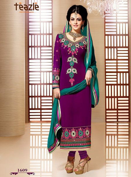 Teazle 1609 Purple Color Georgette Designer Suit