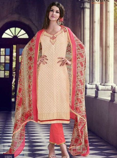 Teazle 1807 Beige & Peach Color Kota Doria Cotton Designer Suit