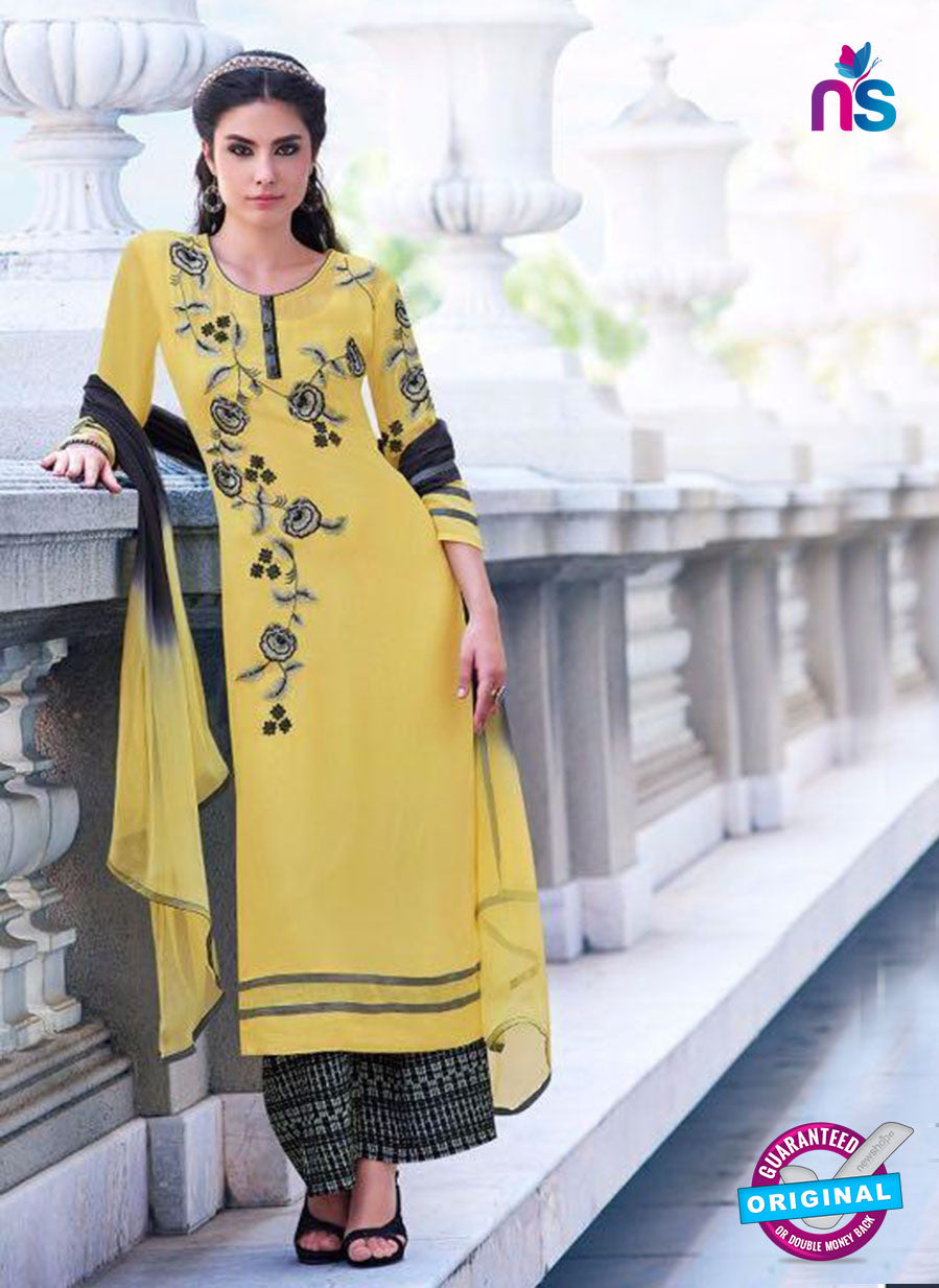 Teazle 2202 Yellow and Pink Embroiderd Georgette Designer Suit
