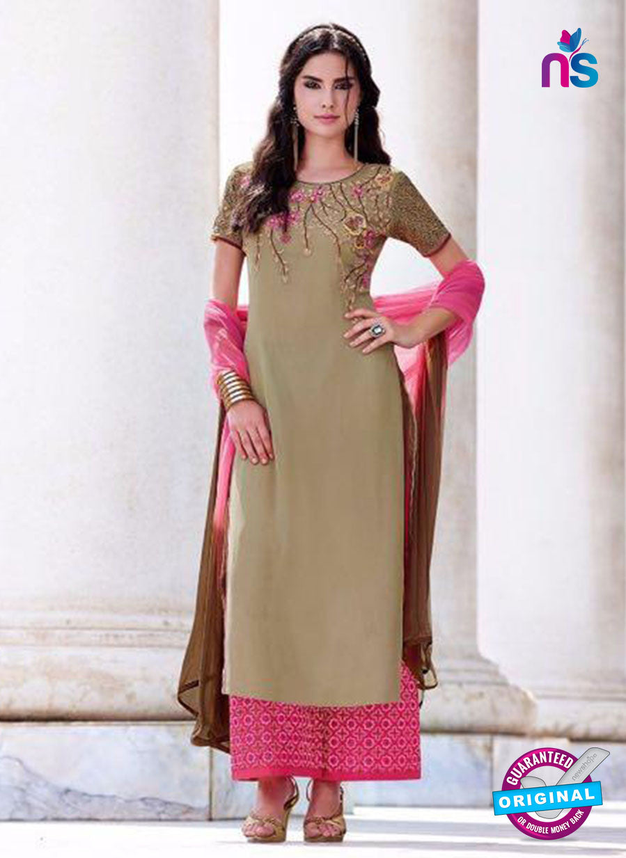 Teazle 2201 Beige and Pink Embroiderd Georgette Designer Suit