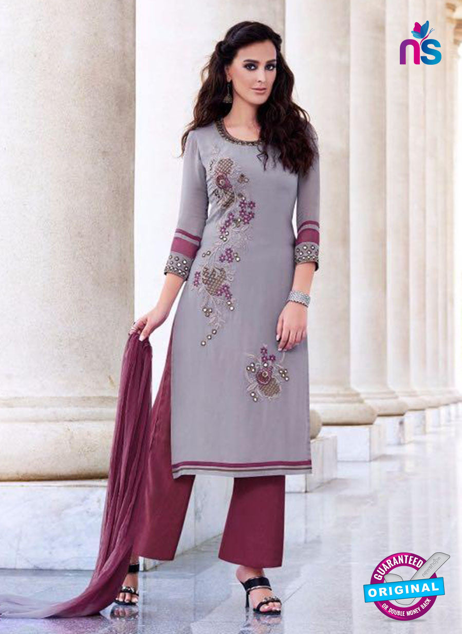 Teazle 2204 Grey and Maroon Embroiderd Georgette Designer Suit