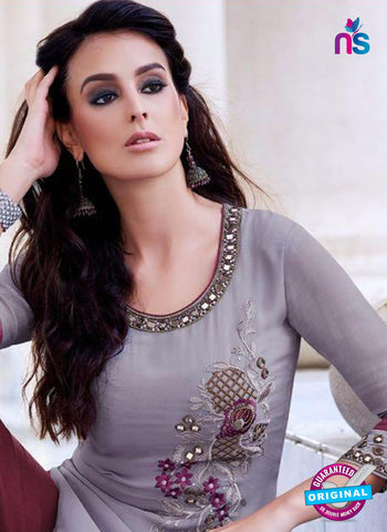 Teazle 2204 Grey and Maroon Embroiderd Georgette Designer Suit Online