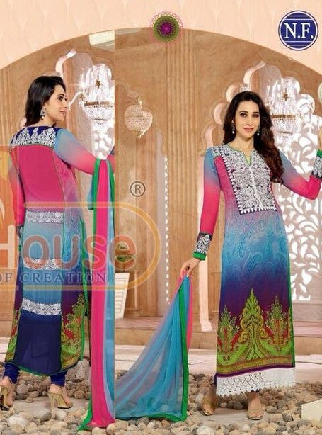 NS11813 Multicolor Georgette Long Designer Suit