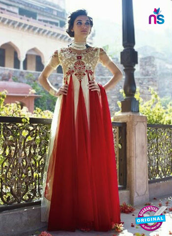 NS10314 Red and White Net Anarkali Designer Suit