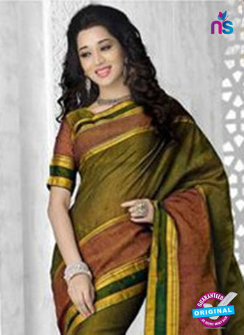 NS11856 Mehandi Green Cotton Saree