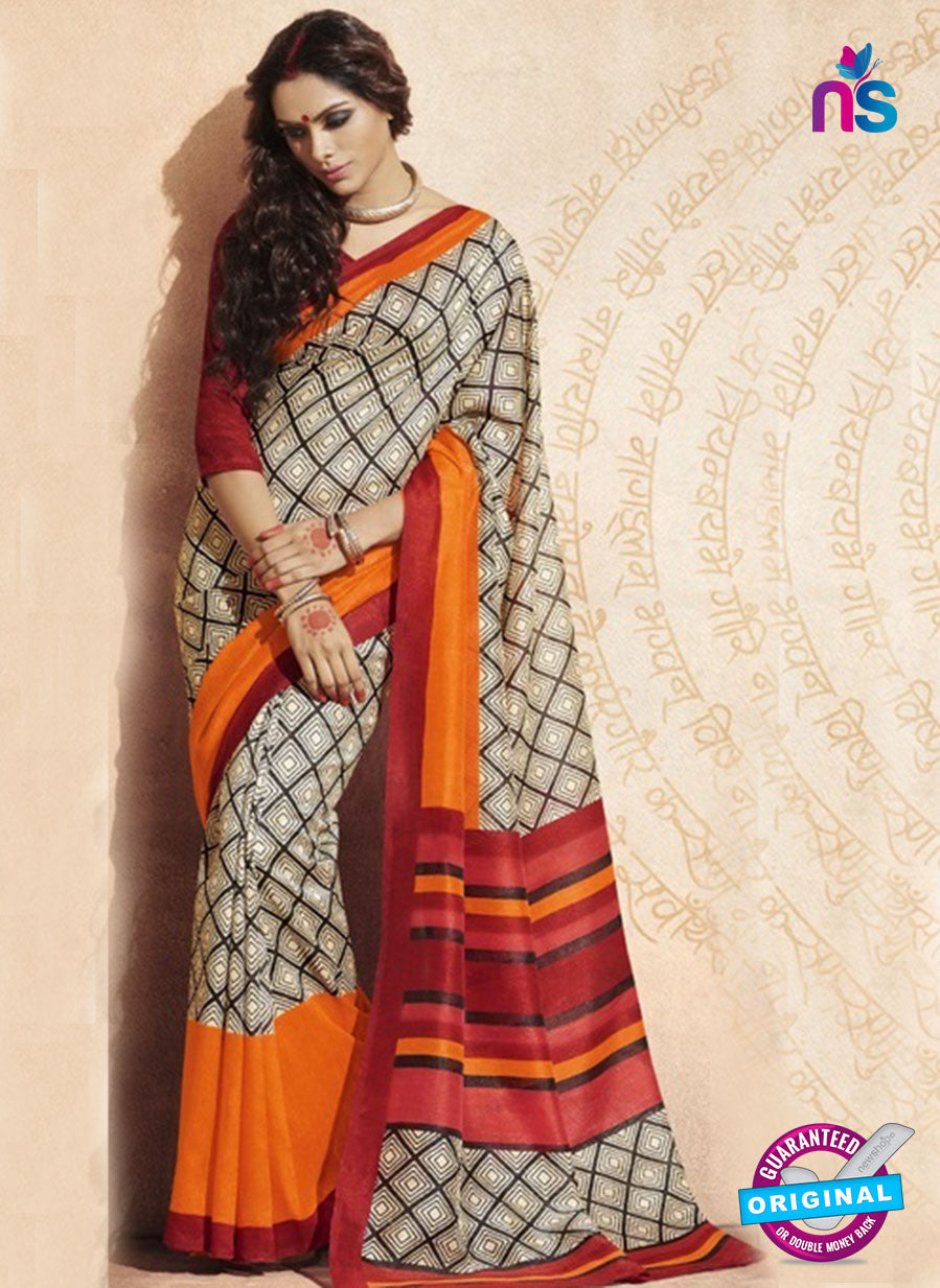 NS11816  Orange and Grey Bhagalpuri Silk Saree