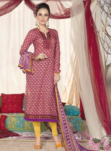 NS11829  Purple & Yellow Color Punjabi Style Cotton Designer Suit