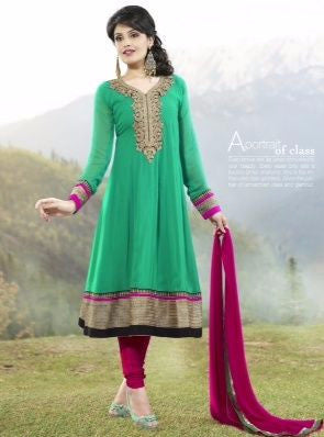 Vinay Fashion 1102 Green and Purple Georgette Designer Suit