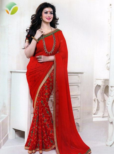 Vinay Fashion 16084 Red Color Georgette Printed Saree