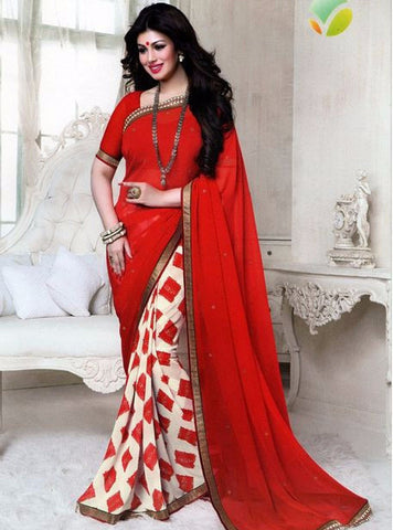 Vinay Fashion 16086 Red Color Georgette Printed Saree
