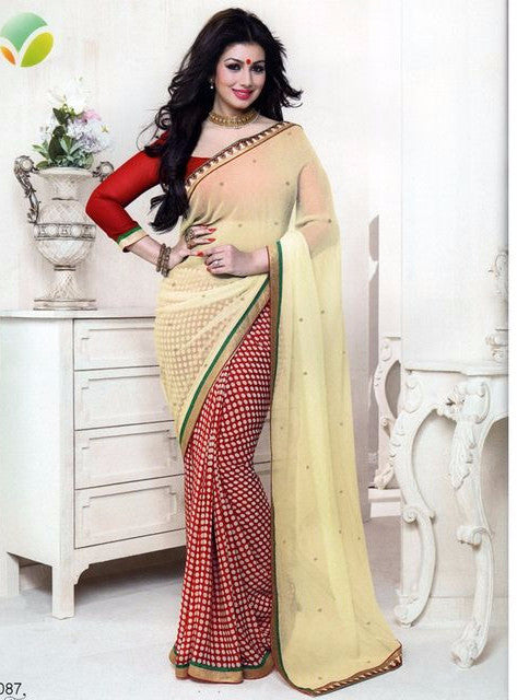 Vinay Fashion 16087 Red & White Color Georgette Printed Saree