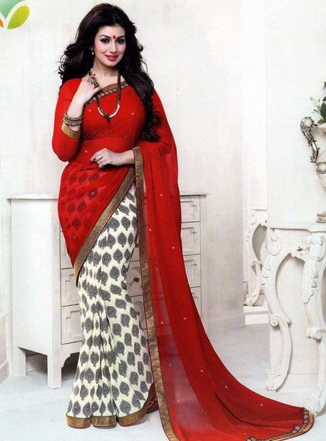 Vinay Fashion 16088 Red Color Georgette Printed Saree