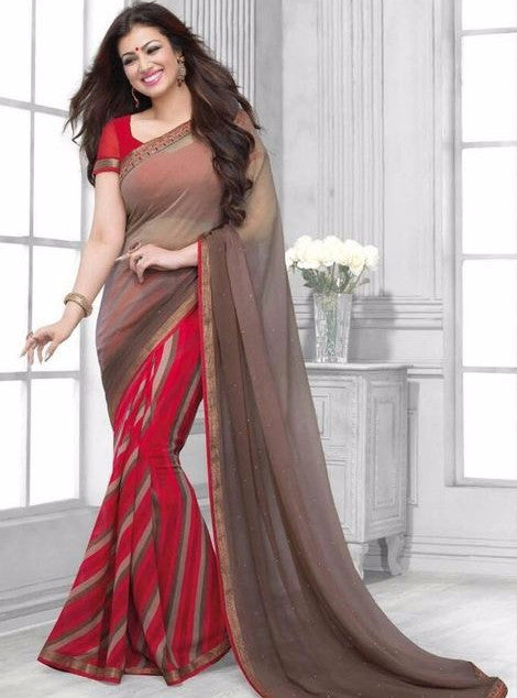 Vinay Fashion 16442 Red & Grey Color Georgette Printed Saree