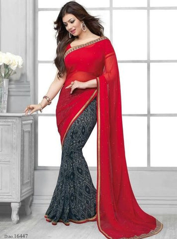 Vinay Fashion 16447 Red & Black Color Georgette Printed Saree