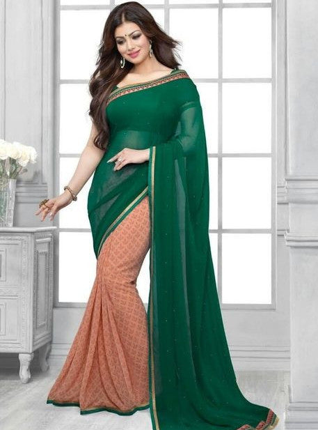Vinay Fashion 16448 Green & Peach Color Georgette Printed Saree