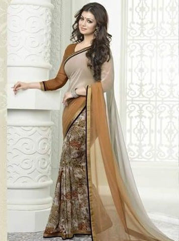 Vinay Fashion 16628 Brown Color Georgette Printed Saree