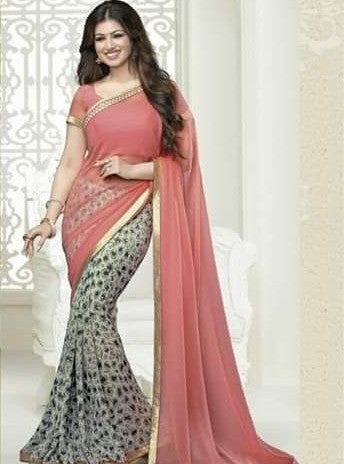 Vinay Fashion 16629 Peach Color Georgette Printed Saree