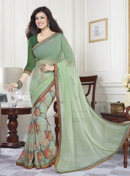 Vinay Fashion 16801 Green Color Digital Print Georgette Saree