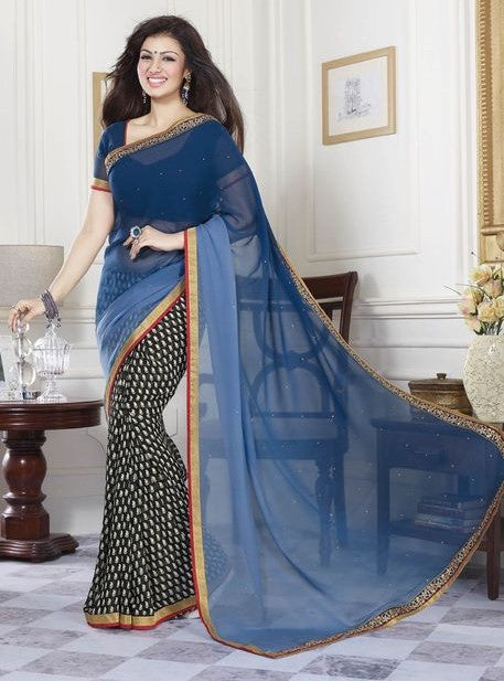 Vinay Fashion 16808 Blue Color Geogette Designer Saree
