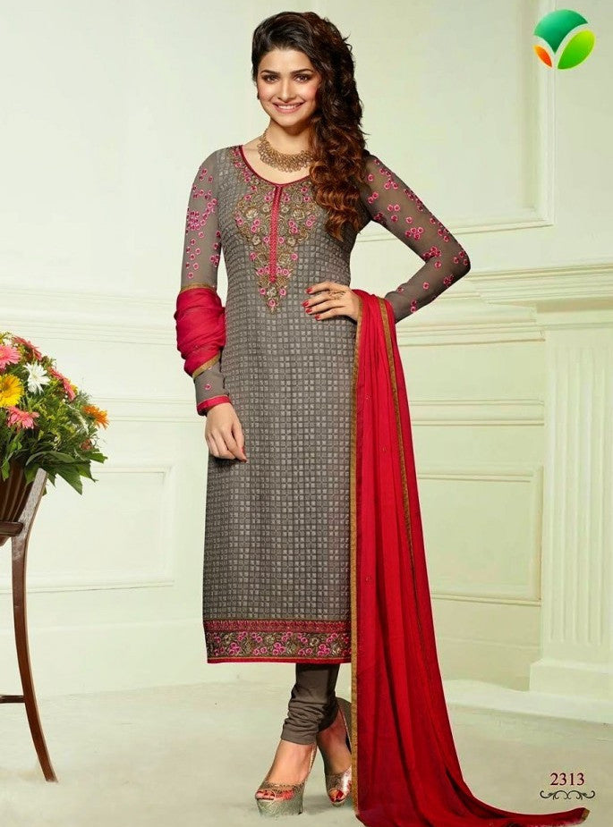 Vinay Fashion 2313 Grey Color Georgette Long Designer Suit