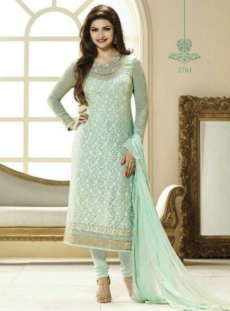 Vinay Fashion 2761 Sea Green Color Georgette Long Designer Suit