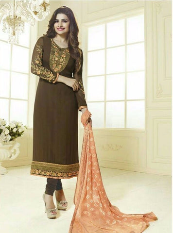 Vinay Fashion 3034 Brown Color Georgette Long Designer Suit