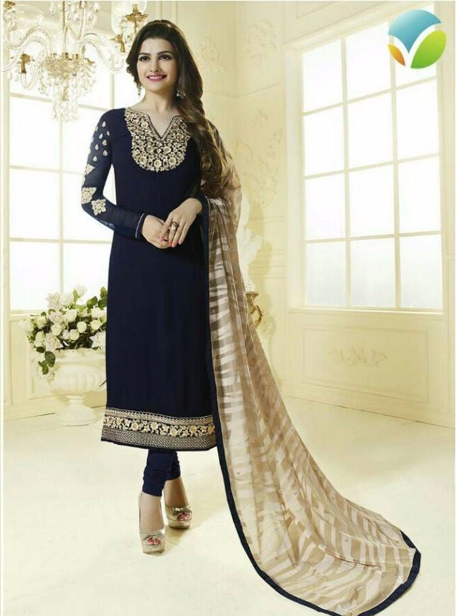 Vinay Fashion 3035 Blue Color Georgette Long Designer Suit