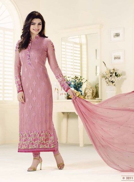Vinay Fashion 3211 Pink Color Georgette Long Designer Suit