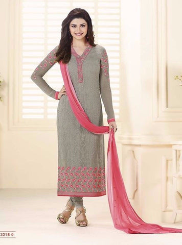 Vinay Fashion 3218 Grey Color Georgette Long Designer Suit