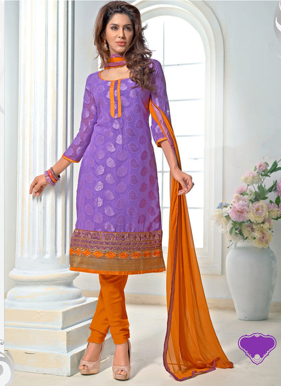 NS11559 Purple and Orange Designer Brasso Straigt Suit