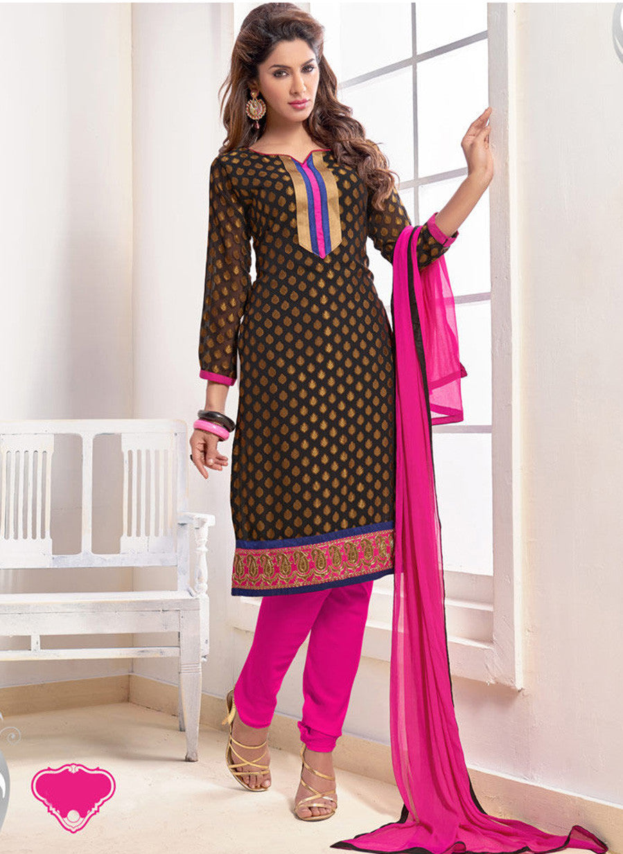 NS11560 Black and Pink Designer Brasso Straight Suit