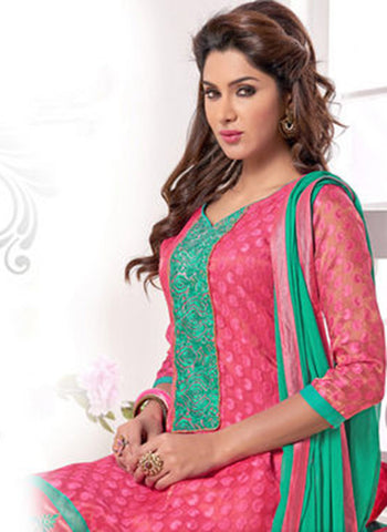 NS11561 Pink and Green Designer Brasso Straight Suit
