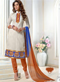 NS11562 Beige and Orange Designer Brasso Straight Suit