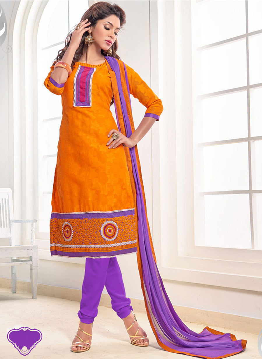 NS11563 Orange and Purple Designer Brasso Straight Suit