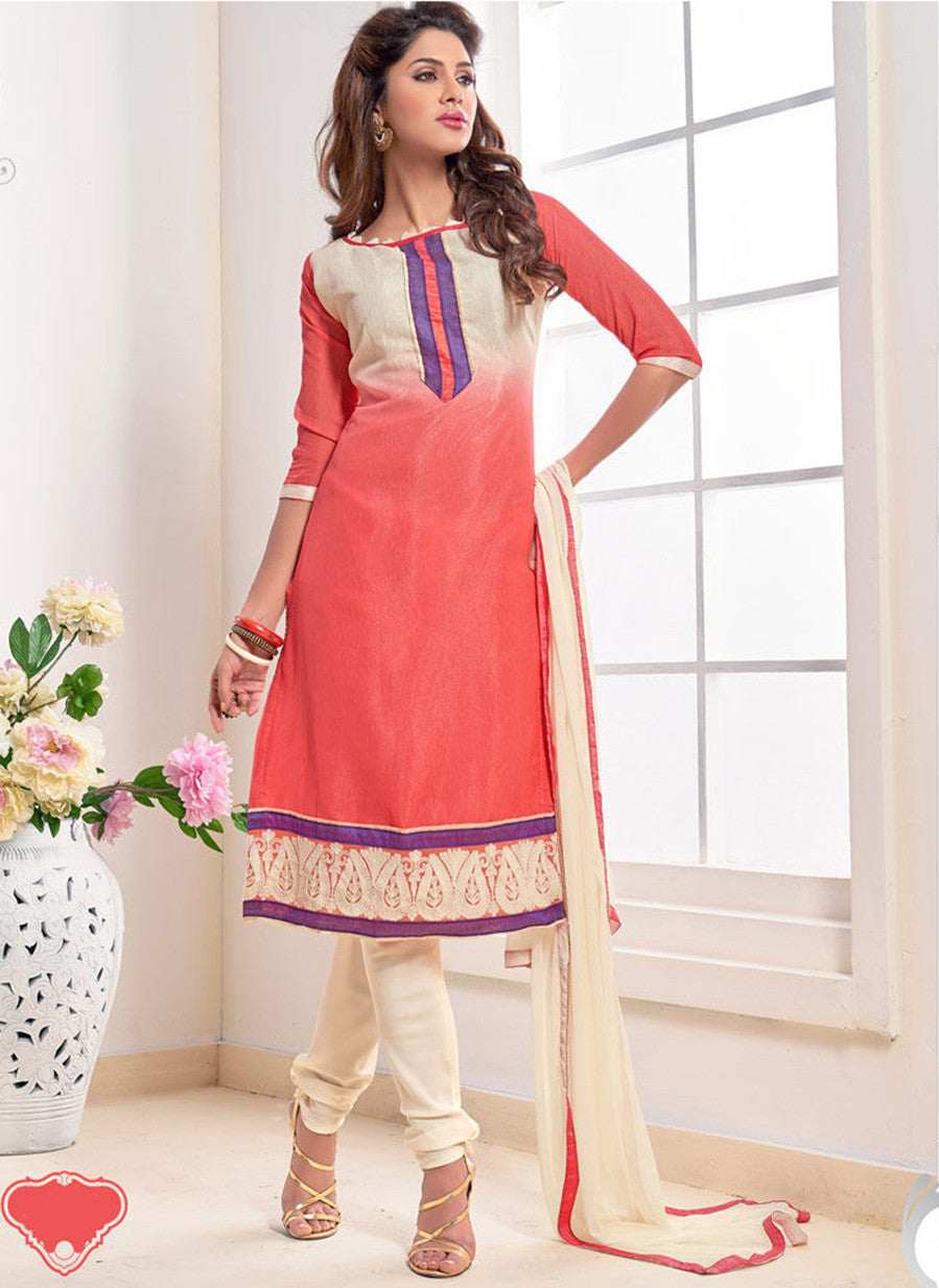 NS11565 Beige and Peach Designer Brasso Straight Suit