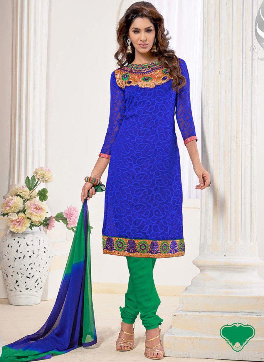 NS11566 Blue and Green Designer Brasso Straight Suit