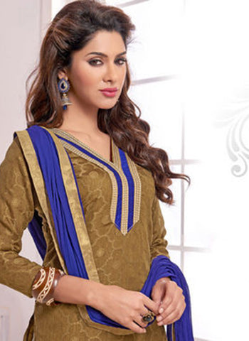 NS11567 Brown and Blue Designer Brasso Straight Suit Online