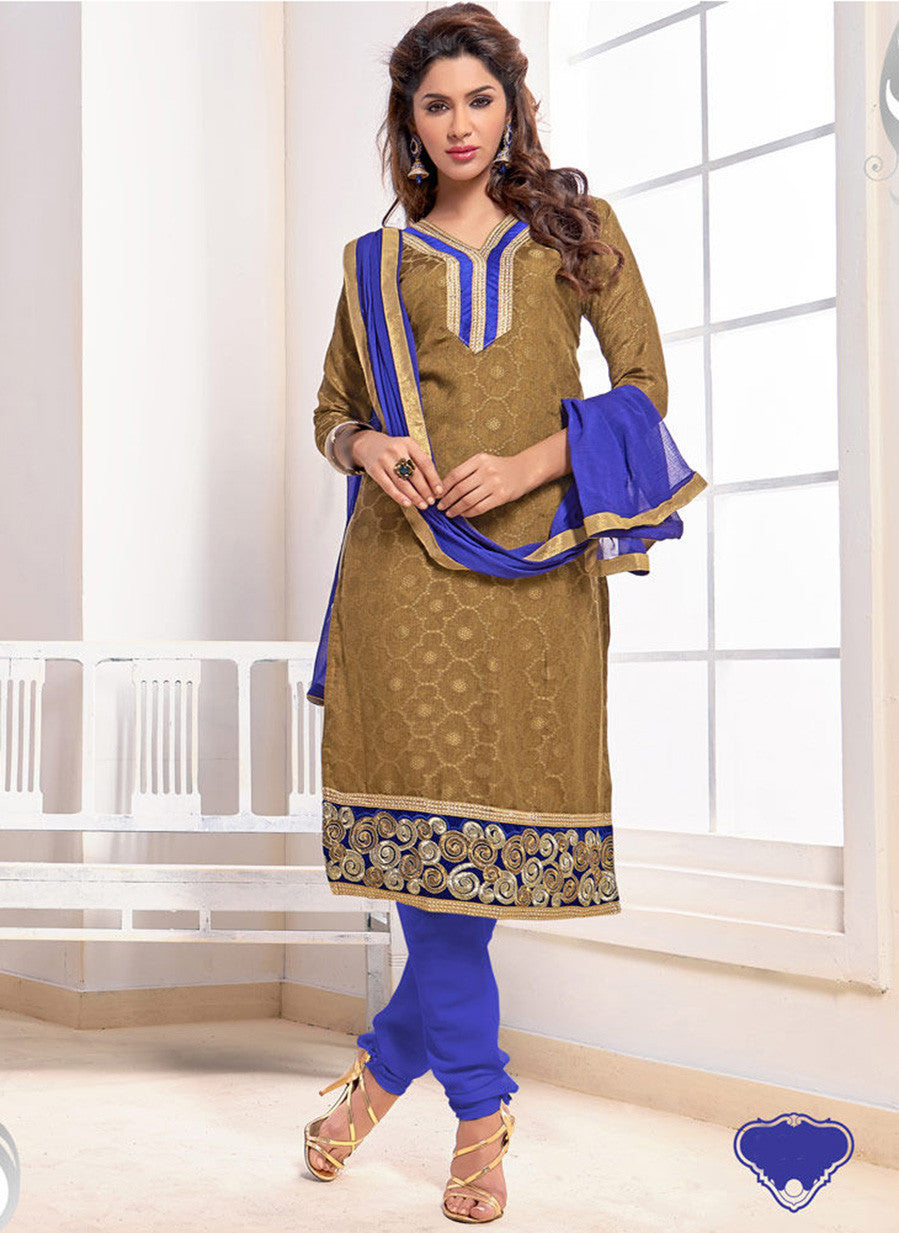 NS11567 Brown and Blue Designer Brasso Straight Suit