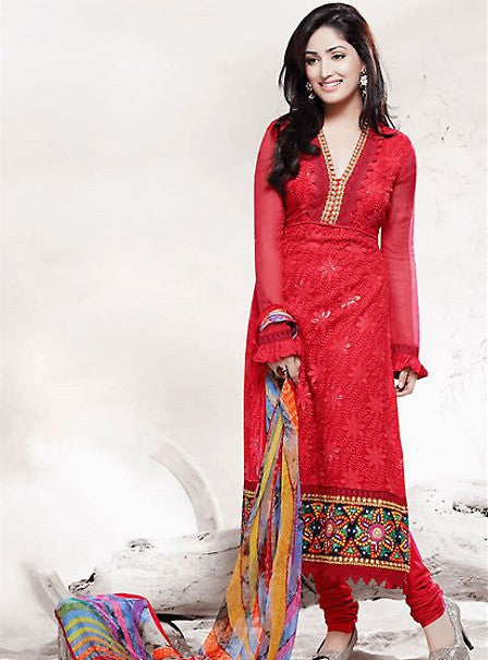 Vivek 002 Red Color Cotton Silk Designer Suit