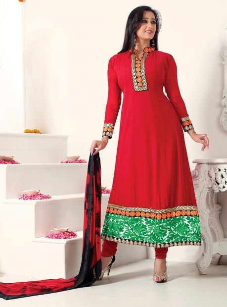 Vivek 1409 Red Color Georgette Designer Anarkali Suit