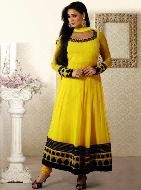 Vivek 1803 Yellow Color Georgette Designer Anarkali Suit