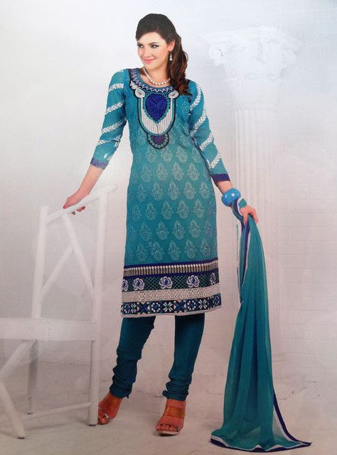 Vivek Fashion 4047 Blue Color Georgette Designer Suit