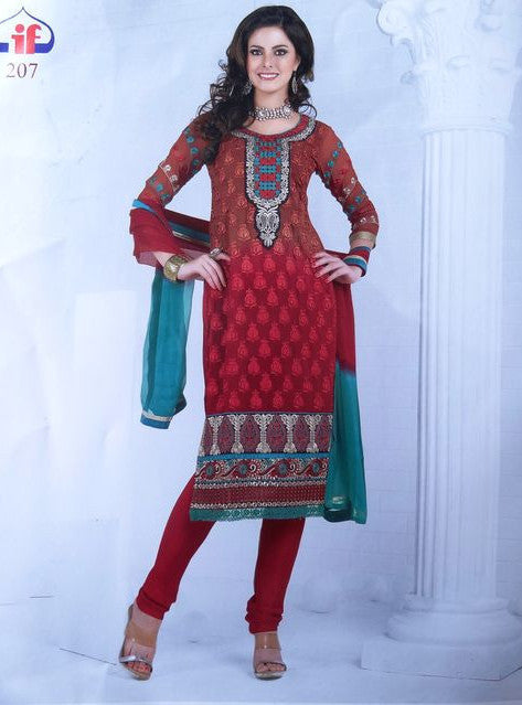 Vivek Fashion 4049 Red Color Georgette Designer Suit