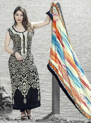 Viyona 9005 Black Color Cotton Long Designer Suit