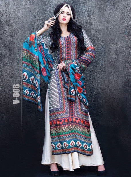 Wonder 606  Multicolor Satin Crape Designer Suit