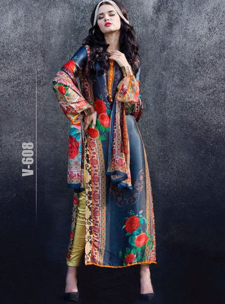Wonder 608  Multi Color Satin Crape Designer Suit