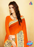 NS11917  Orange and LightYellow Chiffon Saree